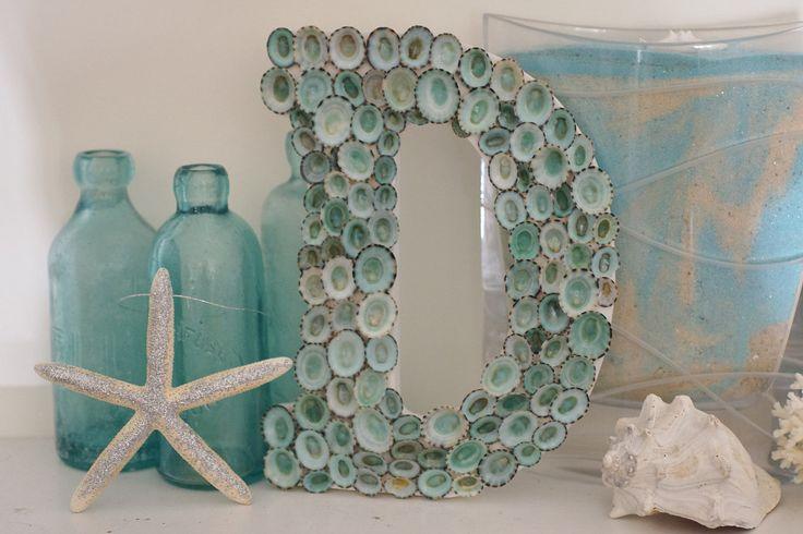Beach Cottage Seashell Decor Limpet Shell Letter