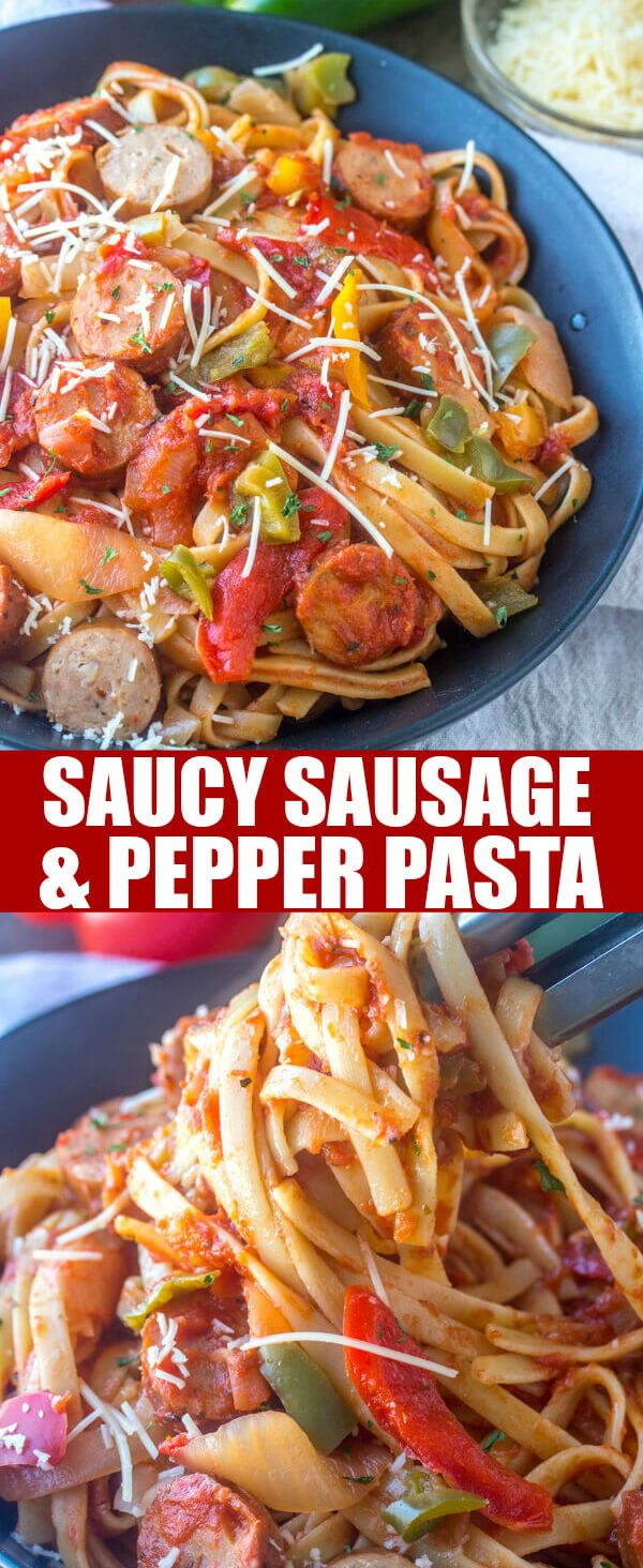 You'll enjoy the freshness of this easy Saucy Sausage and Pepper Pasta! It comes together in under 30 minutes and feeds a crowd! via @amiller1119
