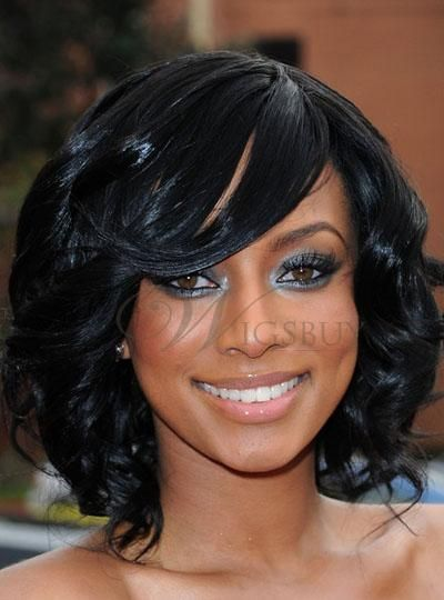 Boutique Hot Sale Fascinating Elegant Bob Hairstyle Medium Wavy Black Lace Wig 100% Human Hair about 10 Inches