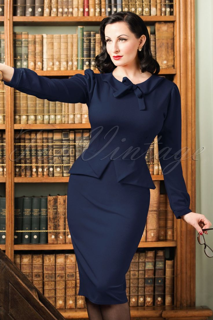 1940s Style Dresses and Clothing TopVintage Exclusive  40s Charlene Pencil Dress in Navy £51.39 AT vintagedancer.com