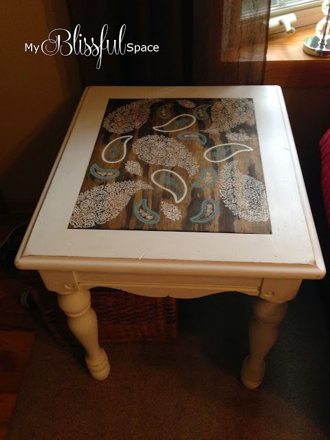 End Table Makeover with silk screen stencils