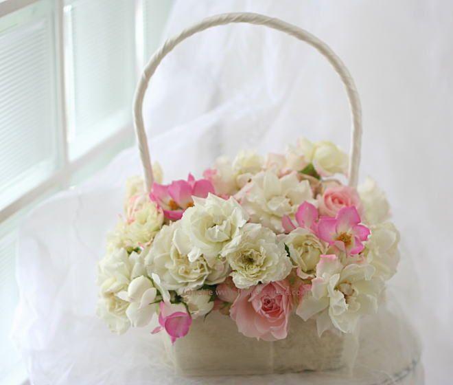ブーケ バッグ 一重八重の6月のバラ : 一会 ウエディングの花