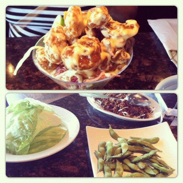 #Yum! Mama Fu's #appetizer dishes are a wonderful way to share #lunch! #Thai Dynamite Shrimp, Chicken #LettuceWraps, and #Edamame... perfect! Thanks to Margaret for sharing this beautiful moment with us. :) #SouthparkMeadows #Austin #Texas #nom #AsianFood #Asian #food