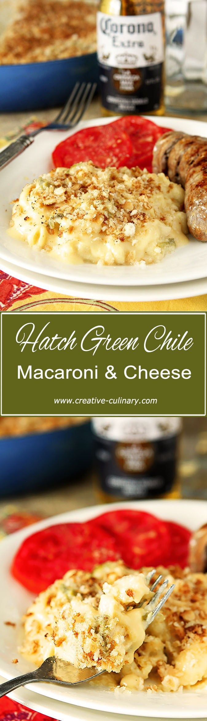 This Hatch Green Chile Macaroni and Cheese is smooth, creamy and flavorful with the subtle bite of Hatch Green Chiles.