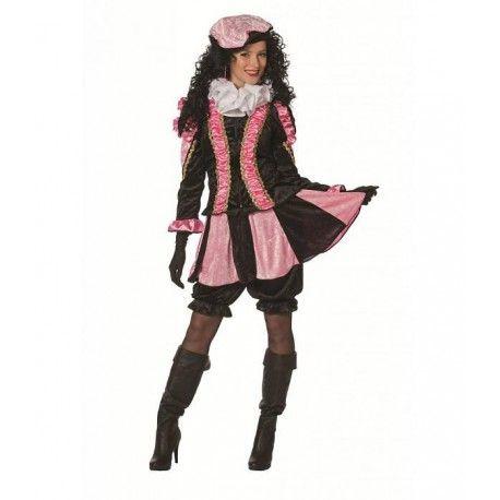 Pieten kleding dames bestaande uit: Jasje, Broek, Rok en Baret  Het jasje is getailleerd en aan de voorzijde voorzien van een rits.  Het roze gedeelte van het jasje heeft een glimmende satijnachtige stof, afgezet met pailletten.