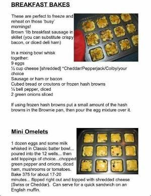 Great breakfast recipes & ideas for the Pampered Chef Brownie Pan by tabatha