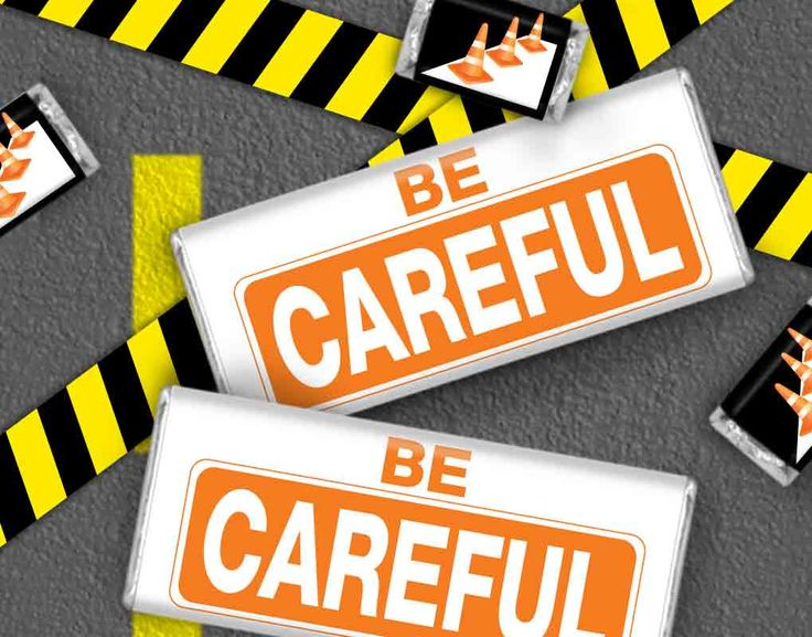 """Promote Your Office's Safety Campaign with """"Be Careful"""" Wrapped HERSHEY'S Candy Bars #businessgifts"""