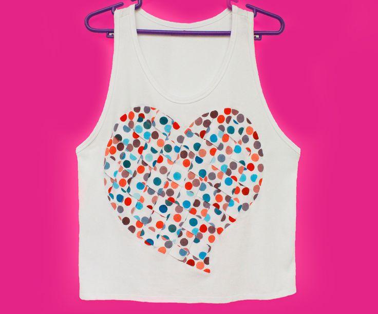 Hand-Painted Polka Dots, Heart-Shaped, Women Tank, Sleveless Tee, Woven Strips Top by k9feline on Etsy