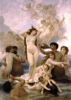 The Birth of Venus by Bouguereau.Order from DEKORAMI as a poster, canvas print, mural. Zamów jako obraz na płótnie, plakat lub fototapetę na DEKORAMI.pl