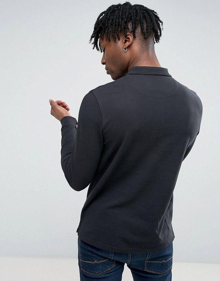 Lyle & Scott Long Sleeve Plain Polo Shirt - Black