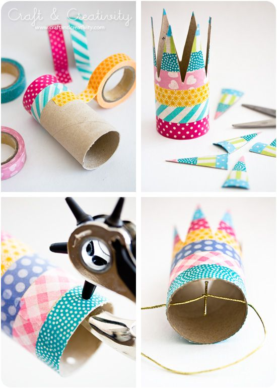 #DIY Simple #birthday #crowns with masking tape www.kidsdinge.com