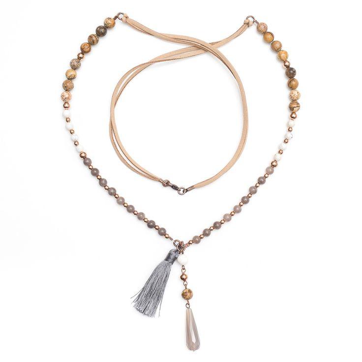 xada jewellery - Grey mix Boho suede necklace on suede, $59.95 (http://www.xadajewellery.com/shop-by-collection/grey-mix-boho-suede-necklace-on-suede/)