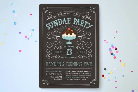 Sundae Party Children's Birthday Party Invitations by Guess What Design Studio at minted.com