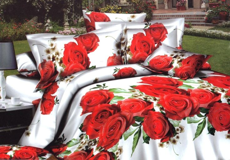 3D posteľná obliečka s motívom červených ruží