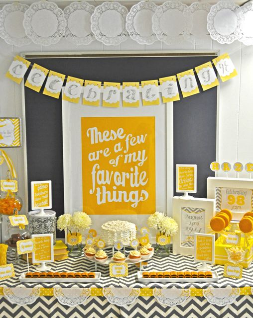 Party Theme, Yellow, Sound of Music, These are a few of my favourite things, Cupcakes, FLowers, Cake, Type, Yellow/Black/Grey