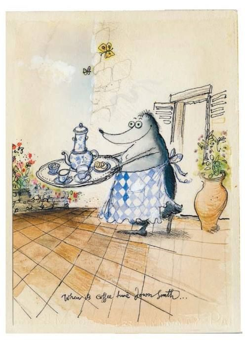 Ronald Searle (Illustrator of Molesworth) drew his wife Monica a Mrs Mole drawing each time she went for treatments regarding the breast cancer she had been diagnosed with. He said it was to cheer her and to 'evoke the blissful future ahead'.