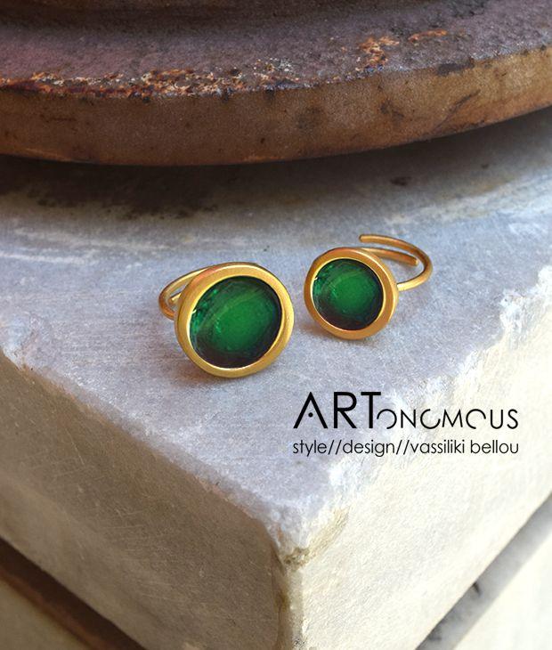 Δαχτυλίδι με σμάλτο Πριγκιπώ – ημιδιάφανο πράσινο