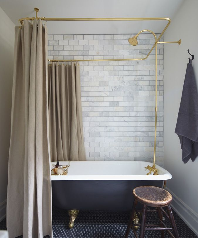 brass + black bathroom