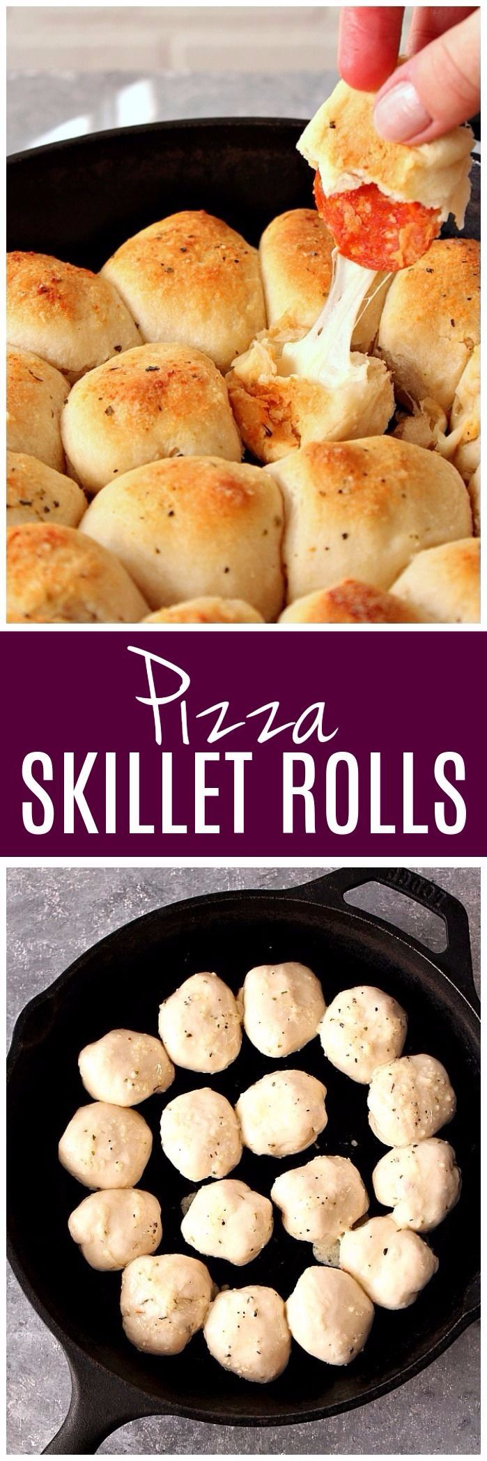 Easy Skillet Pizza Rolls recipe - filled with pepperoni and cheese, these rolls are perfect dipped in pizza sauce! www.crunchycreamysweet.com