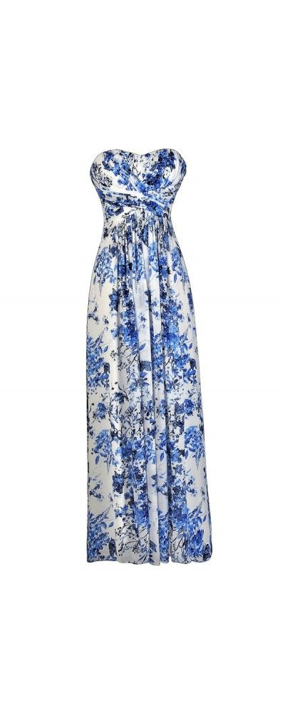 Heirloom Porcelain Blue and Ivory Floral Print Maxi Dress  www.lilyboutique.com
