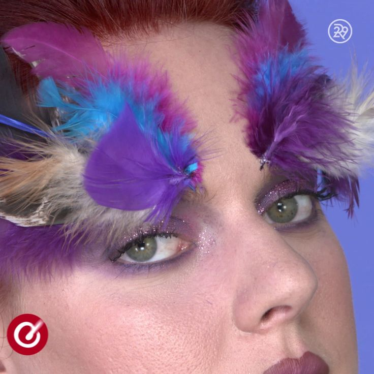 - Map out two symmetrical bird feather designs before application Tip: Choose a variety of feathers within the same color scheme (and they should match the eyeshadow) - Attach feathers one-by-one - with eyelash glue, glue stem of feathers to eyebrows. Start in the middle of brow and work your way outwards Tip: To keep the overall shape looking wing-like, attach the feathers at a slight angle