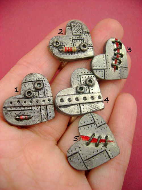 Polymer Clay ~ Industrial Heart Rings