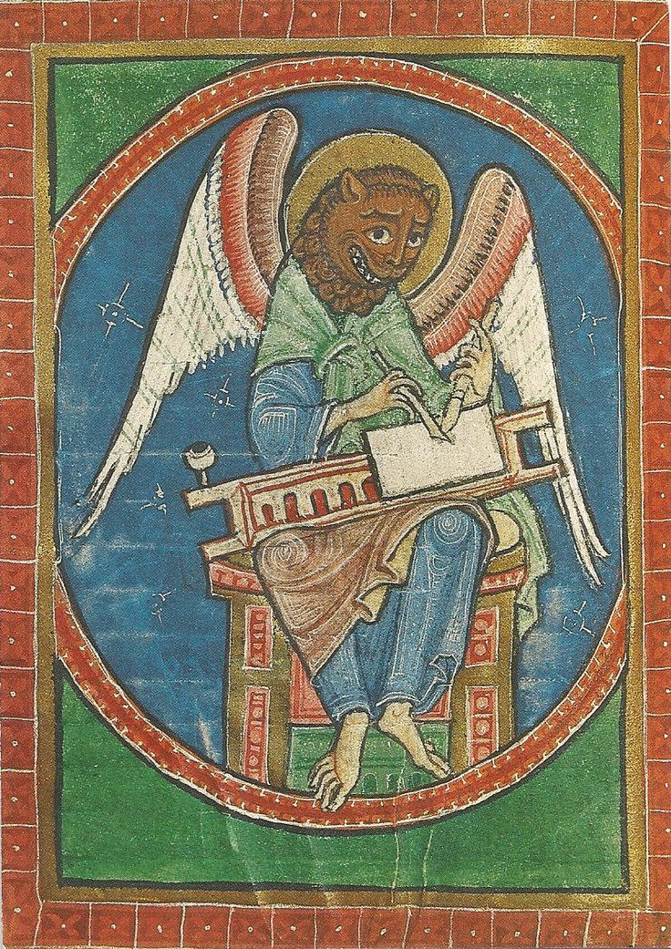 St.Mark, with Beast head and wings! 12th C manuscript.