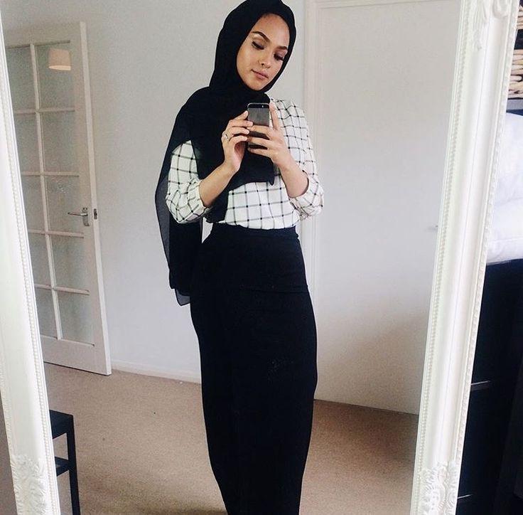 Pinterest: @eighthhorcruxx. Checked black and white shirt, black skirt and hijab.