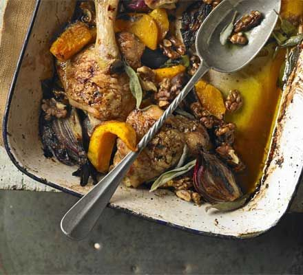 One-pan baked chicken with squash, sage & walnuts
