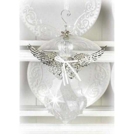 Bedövande vacker mycket stor ängel gjord av akrylprismor och kromad metall