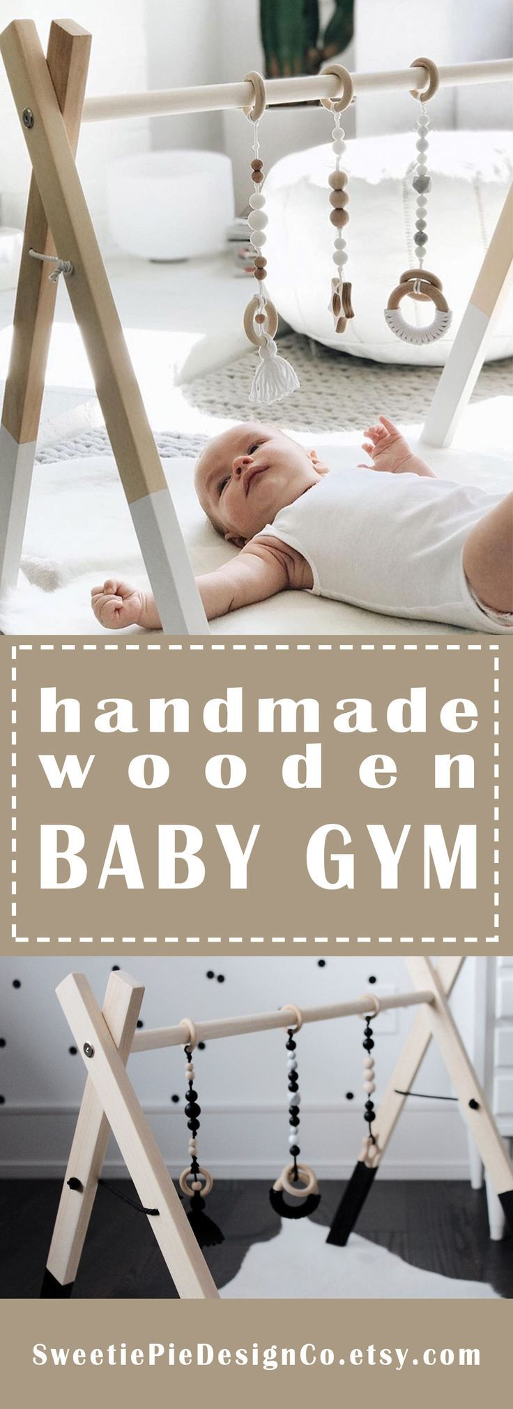 So beautiful and would look amazing in a gender neutral or monochrome nursery! This handmade wooden baby activity gym provides exceptional developmental stimulation for your littlest sweetie pie + is perfectly complementary to your beautiful nursery and home. #nursery #babygym #handmade #ad