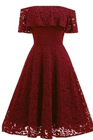 2a97fc80f36 A-line Short Sleeve Red wine Off-the-Shoulder Lace Knee-Length Grace Homecoming  Dresses uk PH228
