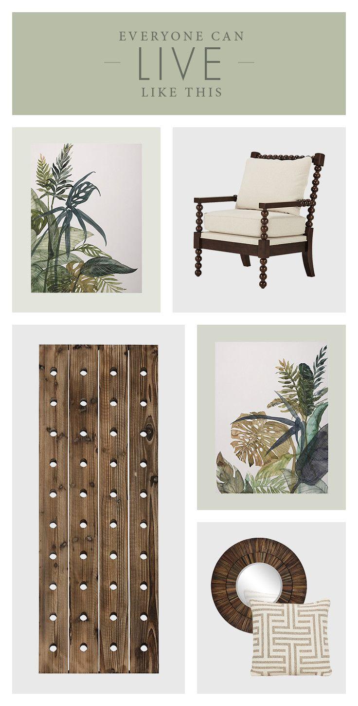 Create a blissful moment in the tropics, indoors! Add neutrals and greens, like the Miri wood wine rack or the Doric fabric square pillow. Then pull the look together with our lush greenery canvas wall art.