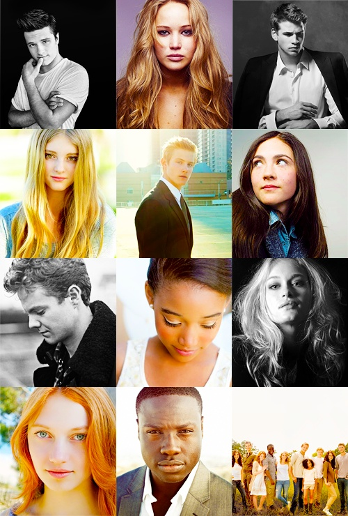 The Hunger Games cast  Peeta  Katniss Gale Prim  Cato Clove Marvel Rue Glimmer Fox-face Thresh (group shot)