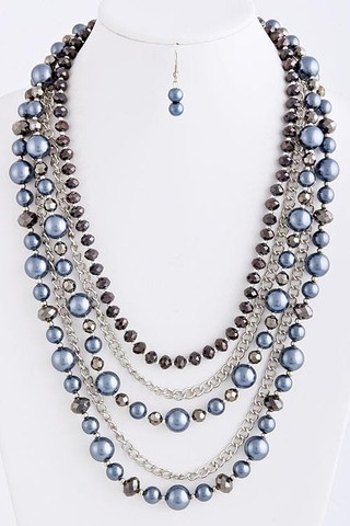Pearl multi chains necklace