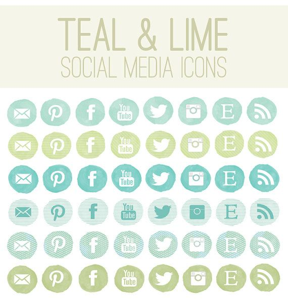 Watercolor Social Media Icons  Teal and Lime by AngieMakes on Etsy, $6.00