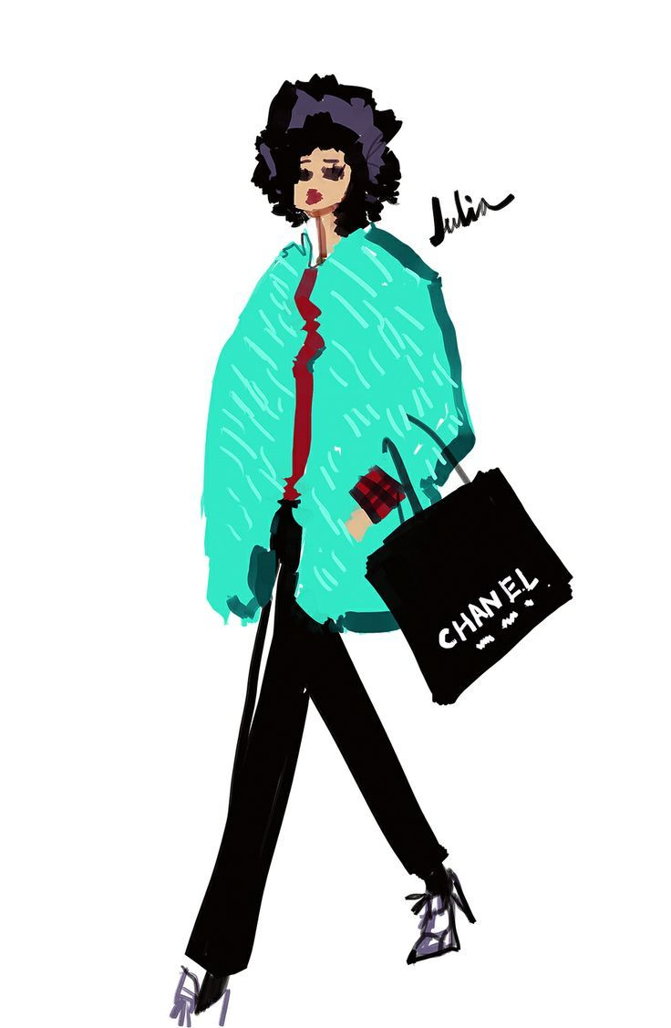 An Illustrated Guide To The Top Fashion Editors #refinery29 - Julia Sarr-Jamois #julia sarr jamois, julia sarr-jamois, fashion illustration
