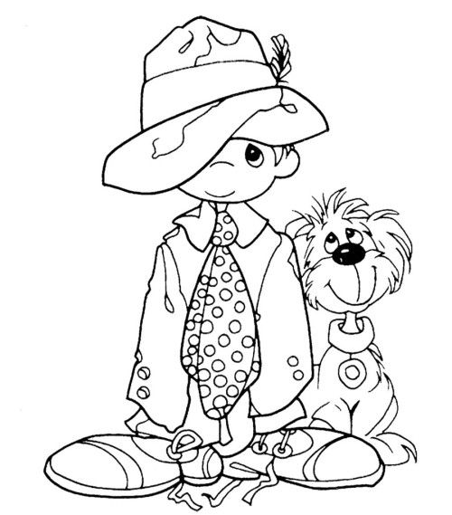 Boy Dressed Up As Dad W Dog Precious Moments Coloring Pages