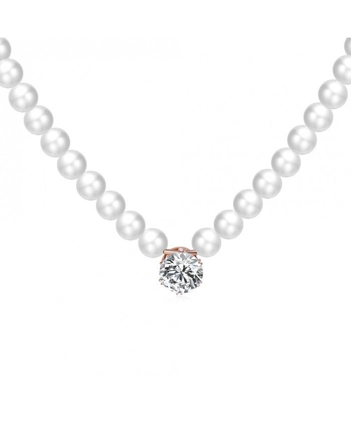 Ouruora Beaded Necklace With Clear Crystal Pendant Rose Gold