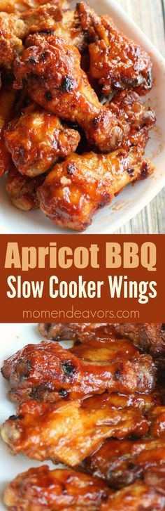 Slow Cooker Apricot BBQ Chicken Wings - delicious sweet and savory wings made…