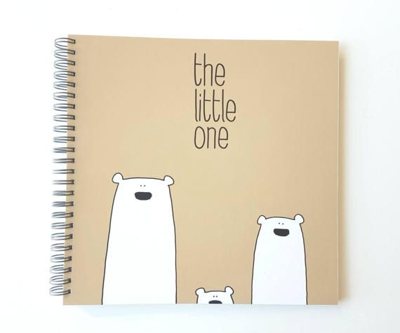 Polar Bears natural cover - Baby memory book with Winter colors, Straight, LGBT, Lesbian, Gay, Same sex parents