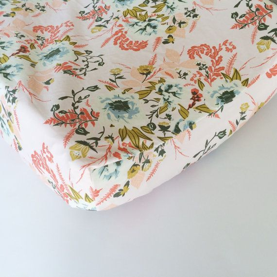 Pink Floral Baby Bedding Fitted Crib Sheets / Floral by Babiease