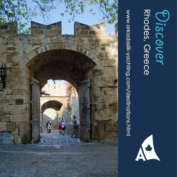 There are many gates into the Medieval Walled City of Rhodes. This one requires drawbridge passage over a moat.
