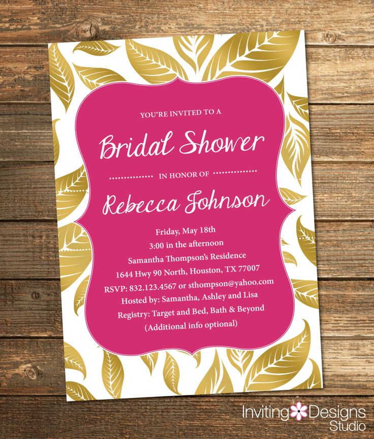free e cards bridal shower invitations%0A Bridal Shower Invitation  Gold and Pink  Leaves  Fall  Gold  Pink