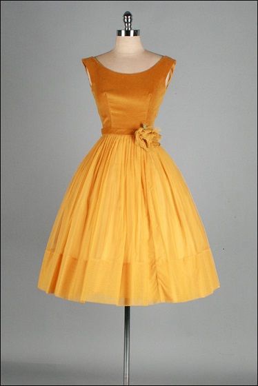 Vintage 1950's gold velvet and chiffon dress