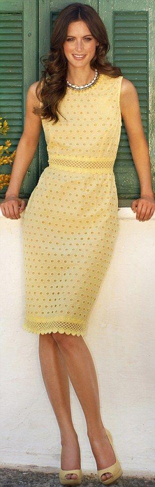 pretty eyelet cornflower yellow dress