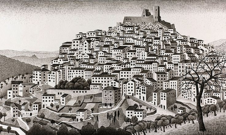 Previously unknown work by Dutch artist famous for his optical illusions depicts the town of Montecelio near Rome