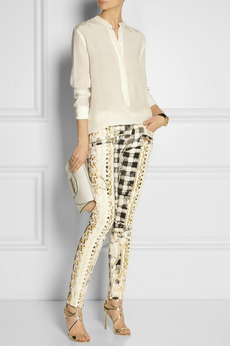 Balmain|Printed low-rise skinny jeans|NET-A-PORTER.COM