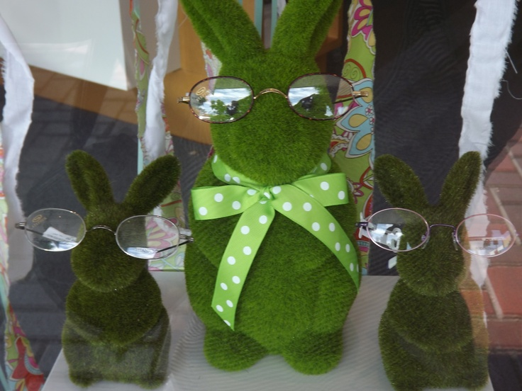 Even grass bunnies need glasses (these guys are from one of our Easter window displays)