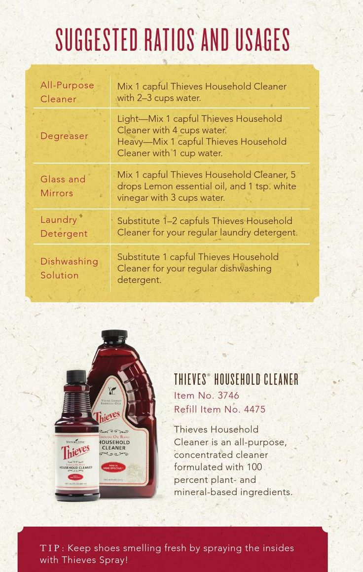 Check It Out! Thieves Household Cleaner Ratio Guide for Cleaning! WWW.THESAVVYOILER.COM